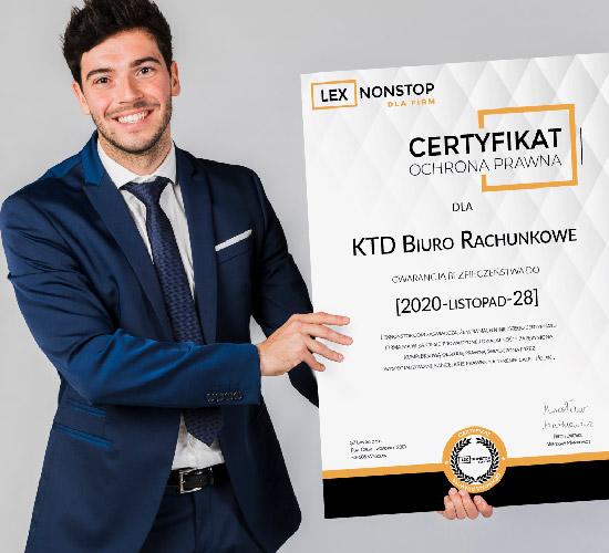 Przedsiębiorca z certyfikatem lexnonstop 4
